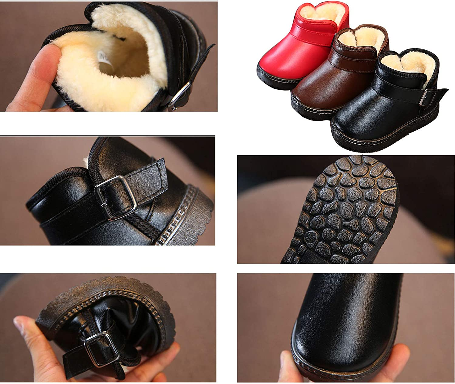 EsTong Baby Toddler Boys Girls Winter Snow Leather Boots Anti-Slip Fur Lined Booties