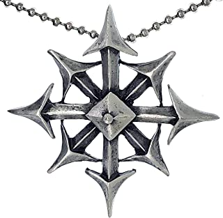 Chaos Star 8 Pointed Arrowhead Amulet Charm Medallion Men's Pewter Pendant Necklace for Men w Silver Ball Chain