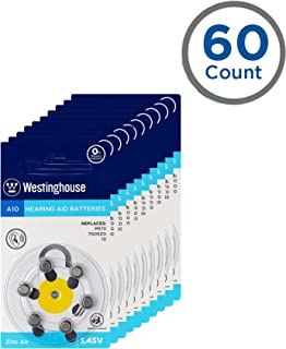 Westinghouse Hearing aid Batteries A10, Zinc Air Batteries, Mercury Free (A10, 60 Counts)