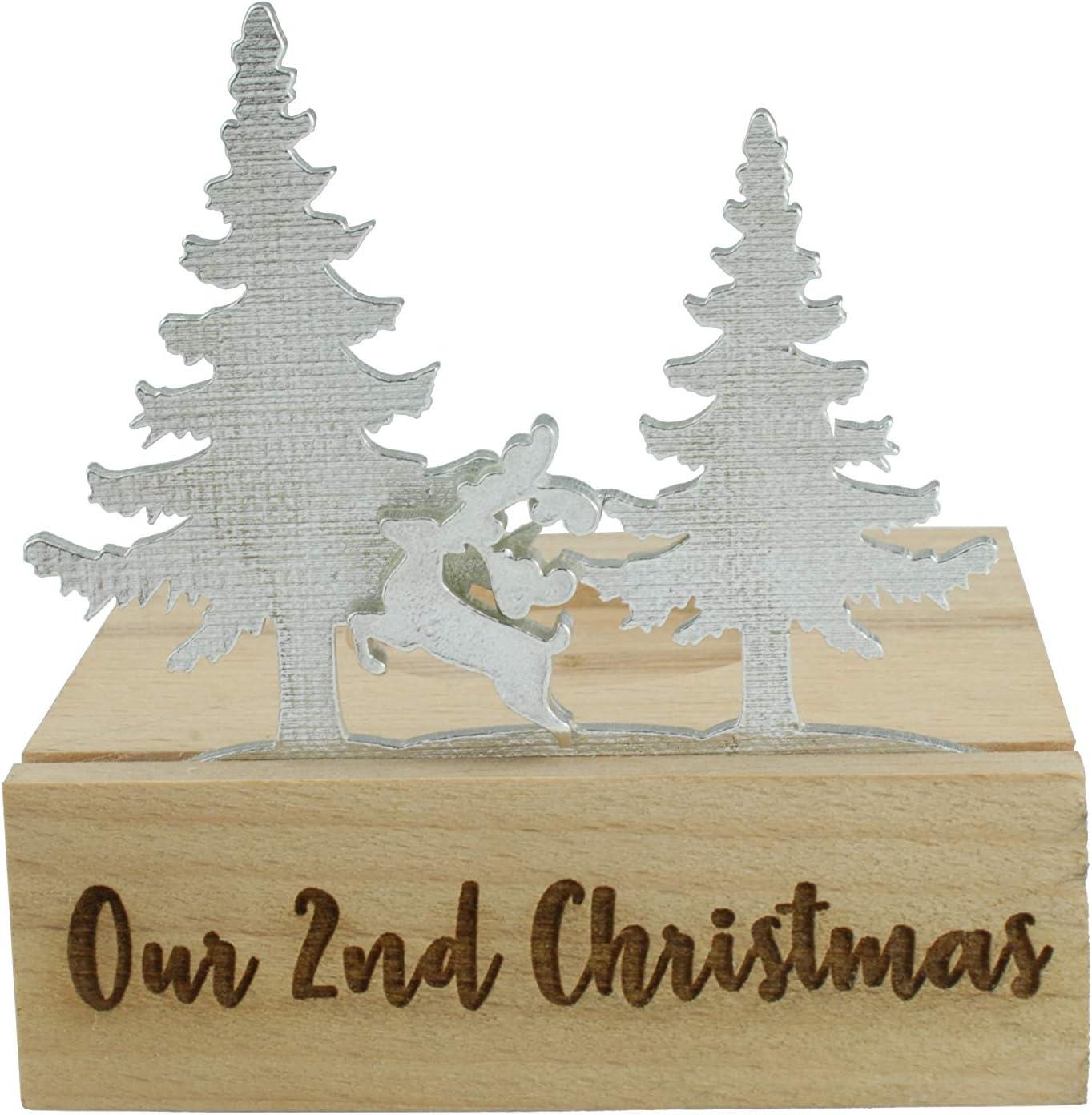 Portavelas de 2º aniversario de Navidad con silueta de reno