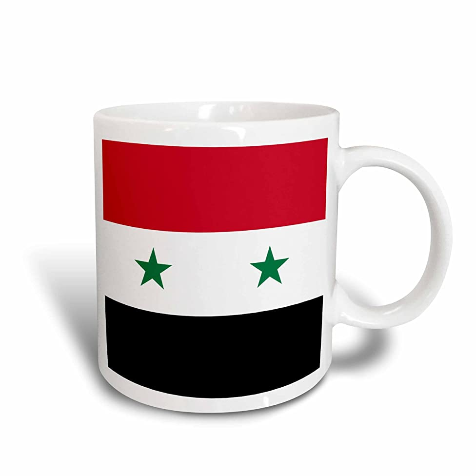 3dRose mug_158443_1 Flag of Syria-Syrian Red White Black with Two Green Stars Middle East Arab Country Arabic World Ceramic Mug, 11-Ounce