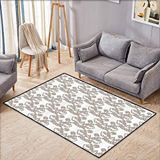 Rectangular Rug,Taupe,Rococo Style Flourishing Flowers Imperial Pattern Old Fashioned Classy Tile Delicate,Anti-Slip Doormat Footpad Machine Washable,4'7