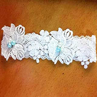 White Flowers Lace Faux Pearls Garters Various Styles for Brides/Valentine Day/Anniversary/Weddings … (XLarge, Beads and Pearls)
