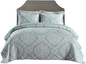 Printed Cotton Bedspread Set, Double-Side Quilted Quilt with 2 Pillow Sham, Multi-Function Blanket, Bed Throw 173×218cm