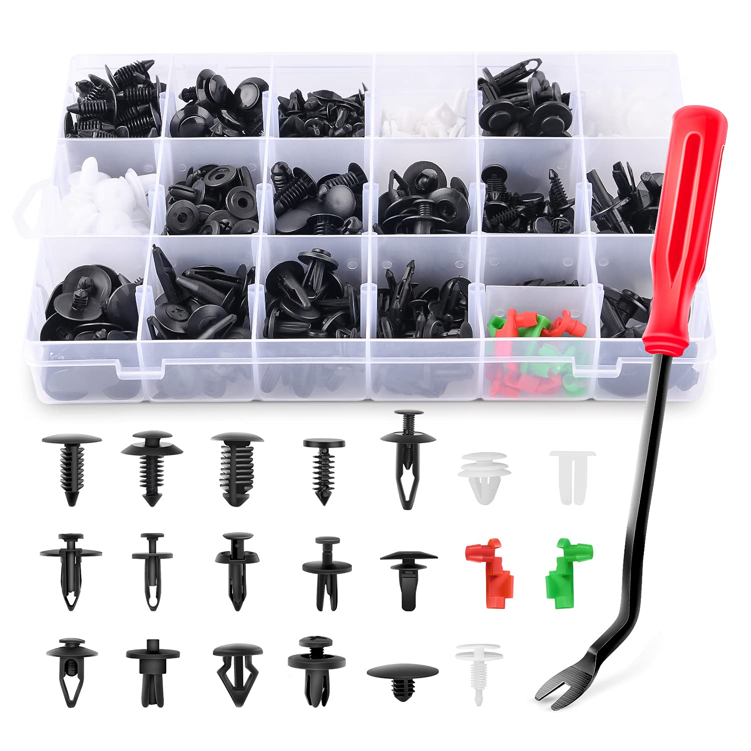 GOOACC 425 Pcs Car Body Retainer Clips Set Tailgate Handle Rod Clip & Fastener Remover - 19 Most Popular Sizes Auto Push Pin Rivets Set -Door Trim Panel Clips for GM Ford Toyota Honda Chrysler