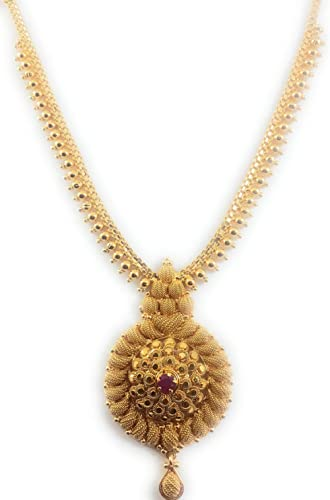 AFJ GOLD 1 Gram Micro Gold Plated Traditional Designer Fashion Jewellery Stone Necklace for Women & Girls (LOT/HALL-03)