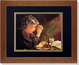 Art Prints Inc Gratitude Lady Praying Table Daily Bread Religious B/G Matted Picture Honey Framed