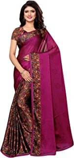 KANCHNAR Women's Printed Lace Border Chiffon Saree with Unstitched Blouse(1038S1035;Printed, Border;Purple)