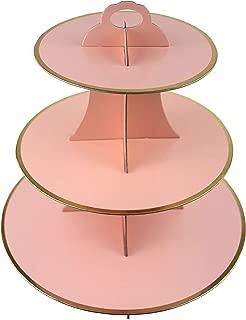 3-Tier Cardboard Cupcake Stand/Tower 1-Set (Pink)