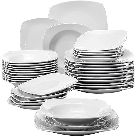 MALACASA Julia 36pcs Assiettes Porcelaines, Service Complet d'Aassiette,12 Assiettes à dinner, 12 Assiettes à dessert, 12 Assiettes Creuses, Service de Table Vaisselles pour 12 Personnes