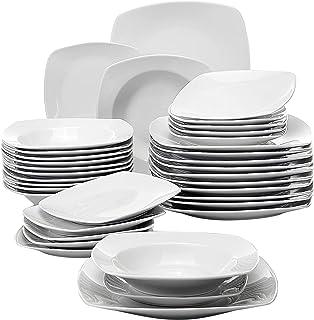 MALACASA Julia 36pcs Assiettes Porcelaines, Service Complet d'Aassiette,12 Assiettes à dinner, 12 Assiettes à dessert, 12 ...