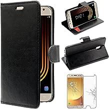 ebestStar - Compatible Coque Samsung J5 2017 Galaxy SM-J530F Etui PU Cuir Housse Portefeuille Porte-Cartes Support, Noir +Film Protection Verre Trempé [Appareil: 146.2 x 71.3 x 7.9mm, 5.2'']