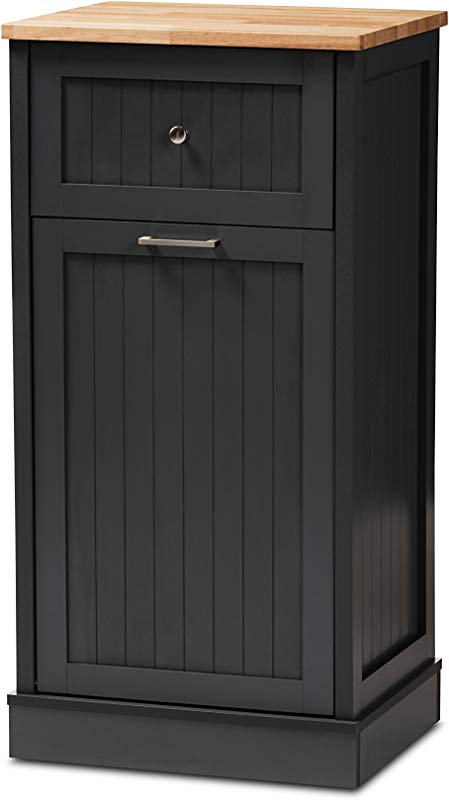 Baxton Studio 147 424 8319 AMZ Monica Kitchen Cabinet Dark Grey Oak Brown