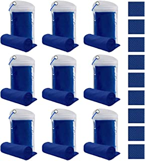Peicees 9 Pack Cooling Towel Soft Breathable Chilly Ice Towel, Fast Drying, Super Absorbent, Ultra Compact Microfiber Towe...