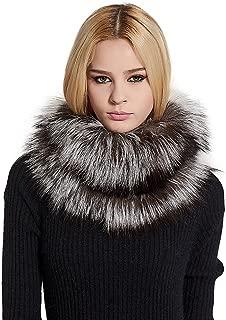 Women's Fox Fur Scarf Warm Infinity Scarf for Winter Neck Warmer Fur Wrap Shawl