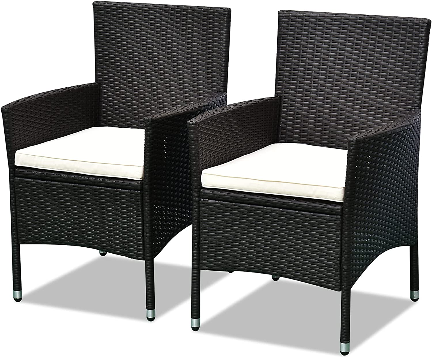 Outsunny 2 PCS Rattan New item Wicker Max 79% OFF Dining Chairs Ant Cushions with and