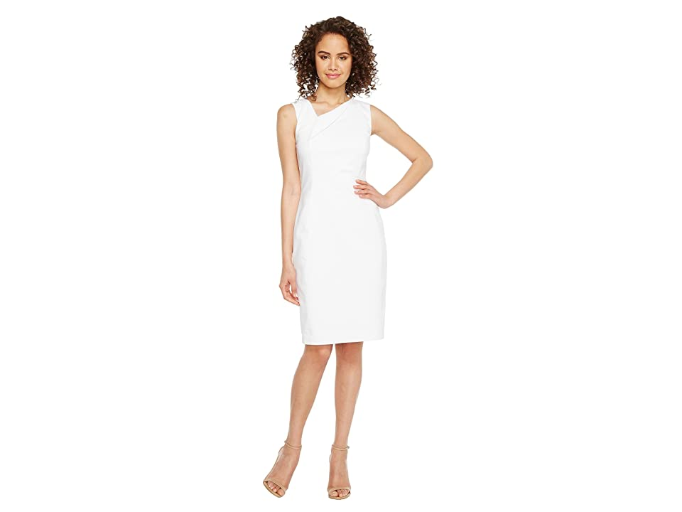 Calvin Klein Asymmetric Neck Cotton Sheath Dress (White) Women