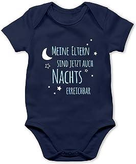 Shirtracer Meine Eltern sind jetzt auch Nachts erreichbar blau - Baby Body Kurzarm für Jungen und Mädchen