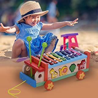 Honelife Multifunctional Wooden Toy Car with 8 Notes Xylophone Glockenspiel 7 Cute Animal-shaped Blocks Early Educational ...