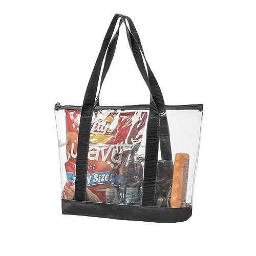 ca11ec29dc1c Bags for Less Large Clear Vinyl Tote Bags Shoulder Handbag (Black)
