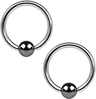 2PC Ball Closure Ring Stainless Steel 10G-20G BCR Nose Nipple Tragus Lip Body Piercing Jewelry