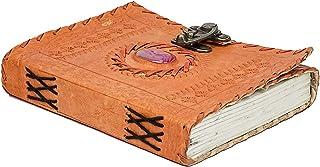 Anshika International Genuine Leather Vintage Handmade Paper Notebook Diary with Metal Lock and Purple Oval Shape Shiny Pr...