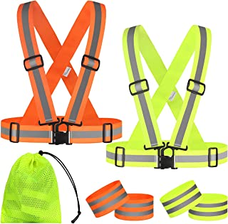 RYACO Reflective Vest High Visibility, Reflective Gear 2 Safety Vest with Reflective Strips for Night Running Cycling Hiki...