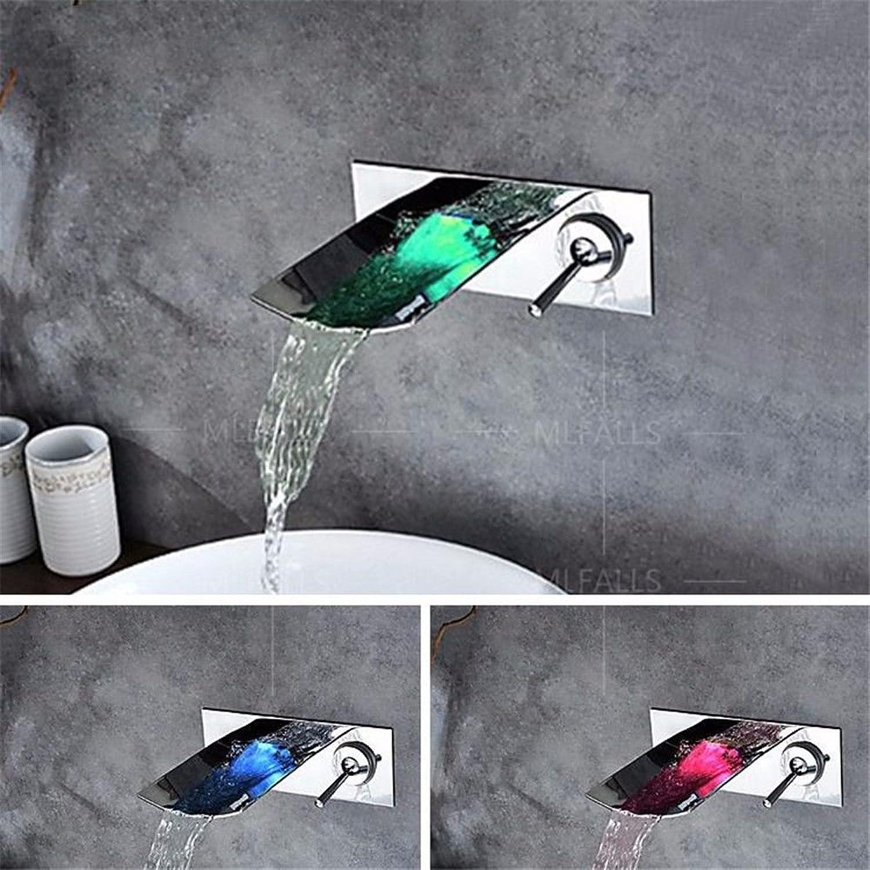 Kupfer warm und kalt Wasserhhne LED drei-farbige Temperaturnderung modernen Stil Chrom Messing in der Wand einzigen Griff zwei Lcher heies und kaltes Wasser Keramik Ventilkern Bad Wasserhahn