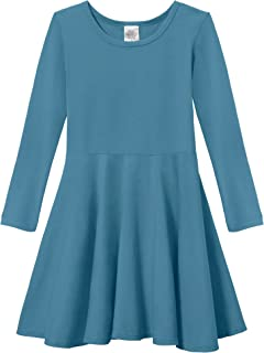 Girls' Cotton Long Sleeve Twirly Skater Party Dress