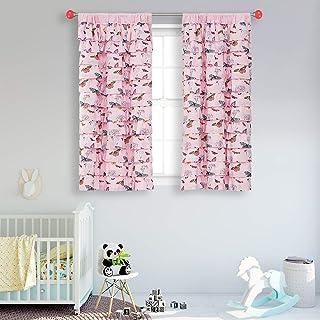WestWeir Pink Ruffle Curtains - Set of 2,Butterfly...