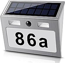 Solar beleuchtete Hausnummer mit 7 LEDs, ECHTPower Solar Hausnummer Solar Hausnummerleuchte mit Dämmerungsschalter Bewegun...