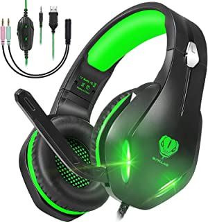 GH-2 Stereo Gaming Headset with Microphone for PS4,PS5,Nintendo Switch,Laptops,PC,Phones, 50mm Drivers, Noise Cancelling O...