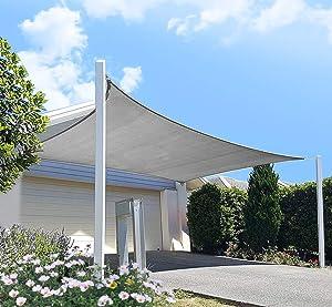 FLY HAWK SunShadeSailRectangle,12' x 20' Patio Sunshade Cover Canopy - Durable FabricCloth for Outdoor Garden Yard Pond Pergola Sandbox Deck Courtyard - Gray Color (12' x 20' Gray)
