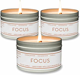 Scented Candles – Focus (Sandalwood) – Natural Soy Wax Aromatherapy 8 oz Candles, 3-Pack, Made in USA