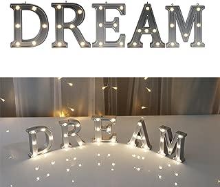DELICORE Decorative Illuminated Dream Marquee Word Sign (Silver Color 4.21