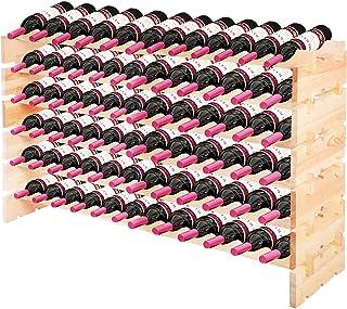 GOPLUS Casier à Bouteilles pour 72 Bouteilles, Range Bouteille Vin avec 6 Étagères, Porte Bouteille en Pin Massif, Grand E...