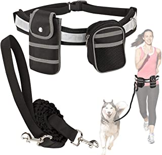 SlowTon Hands Free Dog Lead, Adjustable Reflective Breathable Mesh Fabric Waist Belt, Elastic Bungee Leash with Phone Pouc...