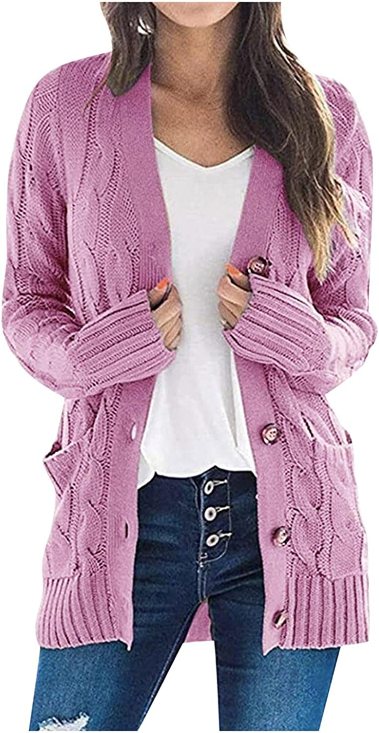 Cardigan for Women Solid Color Decorative Pocket Casual Long Sleeve Outwear Sweater Open Front Chunky Knit Cardigan