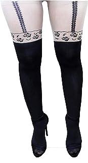 Parisino - calcetines de mujer - medias elásticas - estampado - sexy - color carne - desnudo - talla única