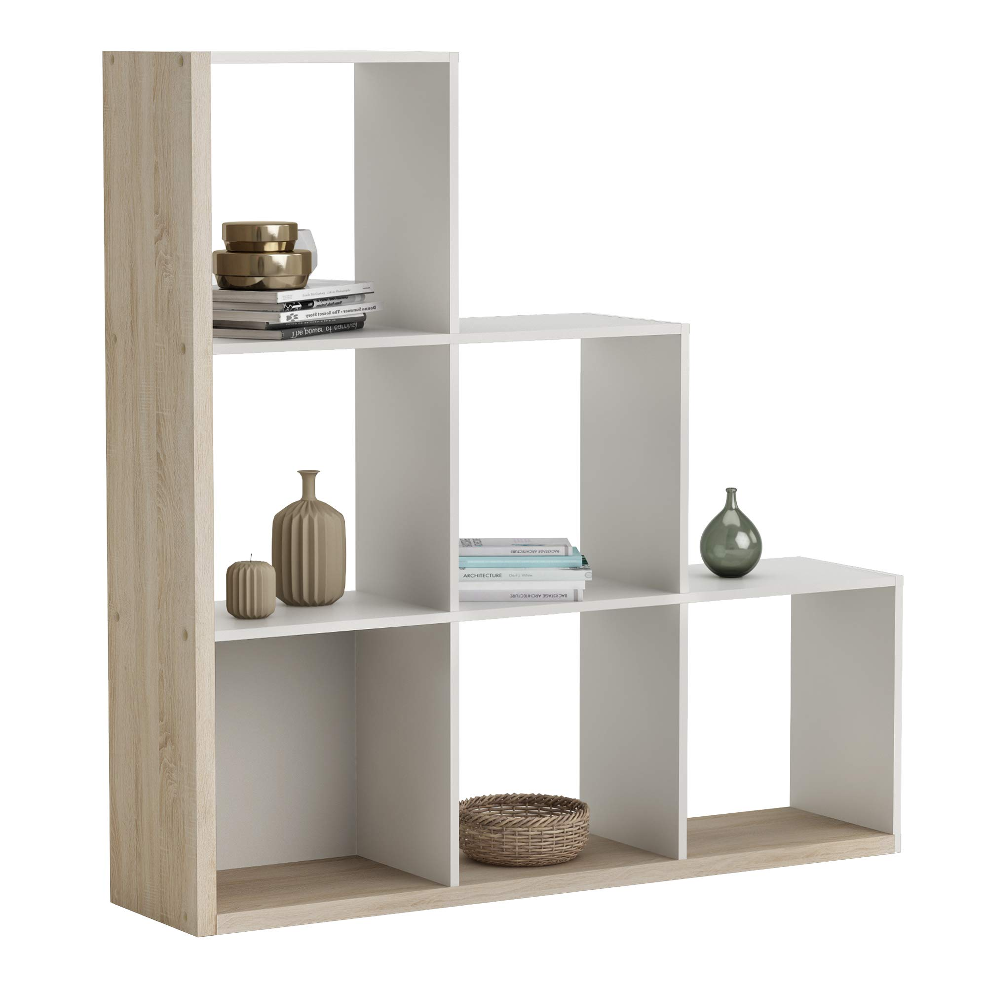 Abitti Estantería o librería en Forma de Escalera de diseño Actual en Color Roble y Blanco 126x128x29 cm: Amazon.es: Hogar