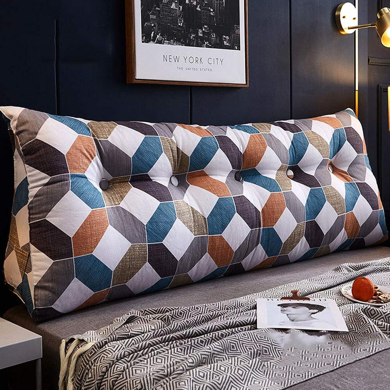 SXFYWYM Oreiller de Lecture Double oreillers lombaires Oreiller Triangulaire de Repose-tête de lit de Chambre à Coucher Lavable,bleu,120X23X50CM