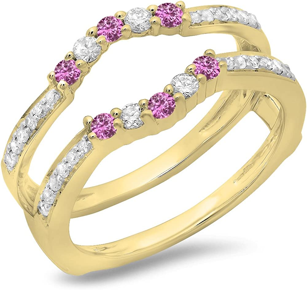 Dazzlingrock Collection 10K Gold Round Pink Sapphire & White Diamond Wedding Band 5 Stone Enhancer Guard Double Ring