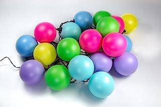 Guirlande Guinguette Extérieure I 20 Balles Multicolores Couleur Rose Bleu Violet Verte Jaune I LED Blanc Chaud I Longueur...