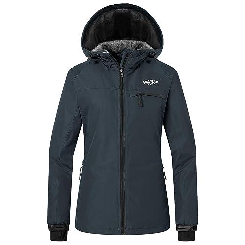 5123751bf6bcb Wantdo Women's Mountain Ski Jacket Windproof Fleece Snow Coat Rainwear  Waterproof Hooded Warm Parka