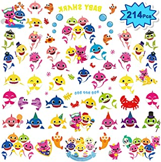 214 Pcs Large Baby Shark Temporary Tattoos for Kids (8 Sheets) Baby Shark Party Favors Children Birthday Ocean Sea Party Supplies Decorations | 54 Patterns