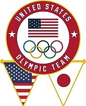 2020 Summer Olympics Tokyo Japan USA Flag Pennants & Olympic Rings Lapel Pin