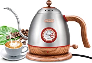Electric Gooseneck Pour Over Coffee Drip Kettle with Thermometer, Stainless Steel Hot Water Boiler Teapot kettle, Fast Boi...