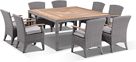 Sahara 8 Square with Kai Chairs in Half Round Wicker, Brushed Grey w/Olefin Textured Grey - Outdoor Wicker Dining Setting...