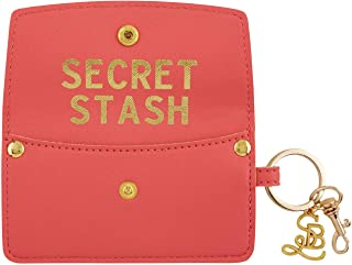 Coral Pink Secret Stash Credit Card and ID Holder Wallet, 4 3/4 Inches