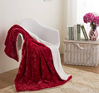 DaDa Bedding Love's Throw Blanket - Santa Hearts in Love Plush Faux Fur Sherpa Fleece Throw Blanket - Soft Embossed Solid Pomegranate Red - 63